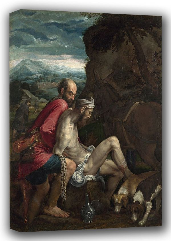 Bassano, Jacopo (Jacopo da Ponte): The Good Samaritan. Fine Art Canvas. Sizes: A4/A3/A2/A1 (001306)